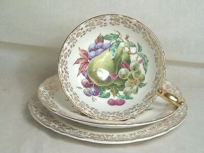 Rare Vintage Aynsley Margaret Rose Pear Fruits Cabinet Trio - Cup Saucer Plate