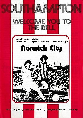 Football Programme SOUTHAMPTON v NORWICH CITY Sept 1973