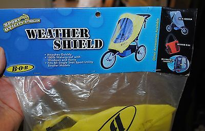 NEW Authentic Yellow BOB Single Stroller Weather Shield Rain Cover Canopy