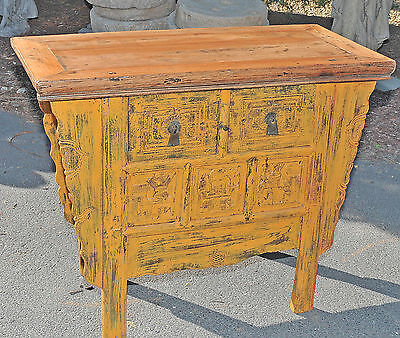 Vintage Chinese Yellow Sideboard or Server