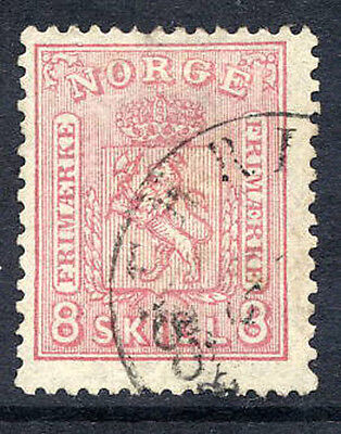NORWAY 1868 Arms 8 sk.  pink  fine used.