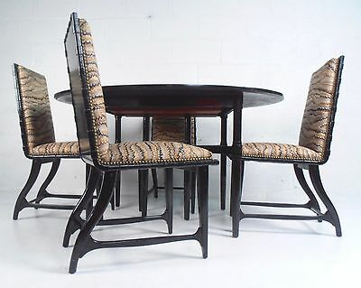 Unique Mid-Century Modern Black Lacquer Dining Set (P7200644)JR