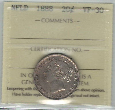 Canada Newfoundland NFLD 1888 20 Cents ICCS VF30 (XOH 917)