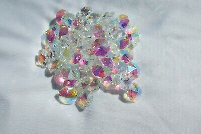 200- 14Mm Ab Aaa 2 Hole Clear Octagon Crystal Glass Beads Chandelier