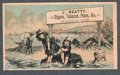 Original 1900's Waltham Mass. J. Beatty Tobacco Shop Advertising Trade Card