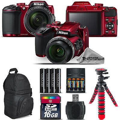 Nikon COOLPIX B500 RED Camera 40x Zoom + Extra Battery + Backpack - 16GB Bundle