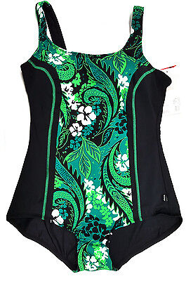 New TYR Women Fitness Swimsuit Women 22 Green Chlorine Resistant 100% Polyester