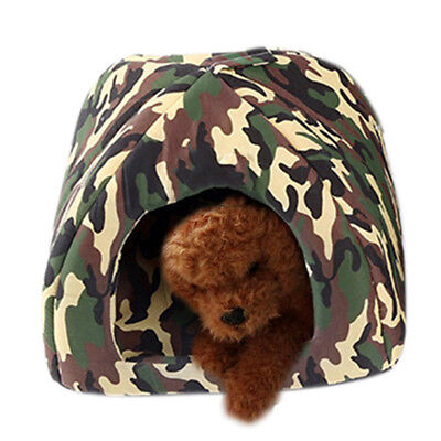 New Pet House Camo Pattern Small Dog Cat Kennel Puppy Cosy Hut Bed Cushion S/M/L