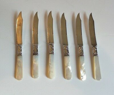"GREAT SET/6 ANTIQUE SILVER PLATE 6"" FRUIT KNIVES with MOTHER-OF-PEARL HANDLES"