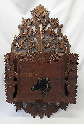 Antique VICTORIAN Carved Walnut DEER HEAD Wooden MAGAZINE RACK Leaves