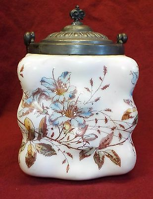 Old Antique WAVECREST Floral BISCUIT CRACKER JAR w/ Lid & Twisted Handle