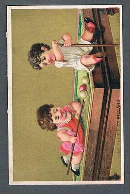 Original 1920's Billiard Game Advertising Victorian Trade Card