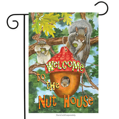 """Welcome to the Nut House Summer Garden Flag Humor Squirrels Tree House 12.5""""x18"""""""