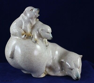 Mother Polar Bear w/ Two Cubs  - Made to Look Like it is Hand Carved Stone