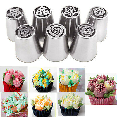 7x Russian Icing Piping Nozzles Tips Sugarcraft Cake Decorating Pastry Tool Set