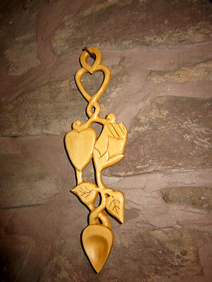 white rose lovespoon ,love spoon, wooden ,welsh, free inscriptions