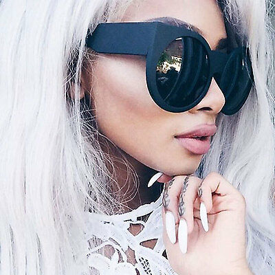 Round Cat Eye Big Oversized Thick Vintage Retro Style Frame Women Sunglasses