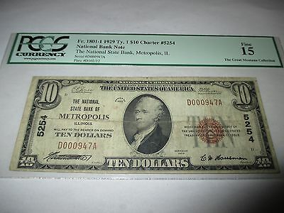 $10 1929 Metropolis Illinois IL National Currency Bank Note Bill Ch. #5254 Fine
