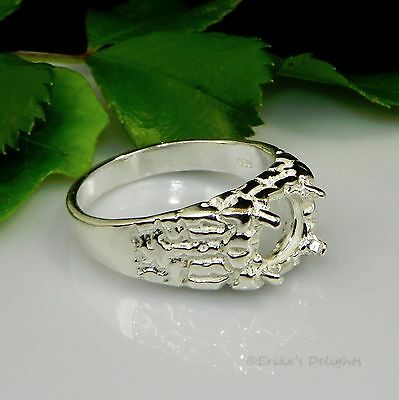 8mm ROUND Mens Textured Sterling Silver Pre-Notched RING Setting
