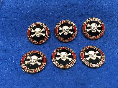 Lot of 6 1970's Vintage US Navy USS Purdy DD-734 Metal Emblems