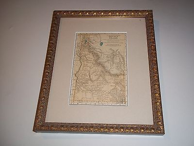 1893 Idaho  antique STATE   map Framed MATTED  ORIG color