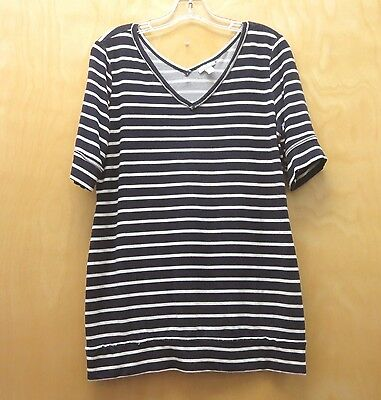 A PEA IN THE POD MATERNITY Navy White Stripe Shirt - Sz Large