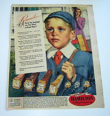 1949 Hamilton Watch Color Ad 7 Watches Pictured