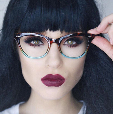 New Vintage Style Clear Lens Ombre Cat Eye Frame Gradient Glasses Eyeglasses