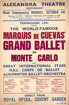 Theatre Poster - The Grand Ballet Of Monte Carlo Arrives In Birmingham (1948)