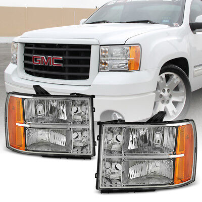 2007-2013 GMC Sierra 1500 2500HD 3500HD Crystal Headlights Headlamps Left+Right
