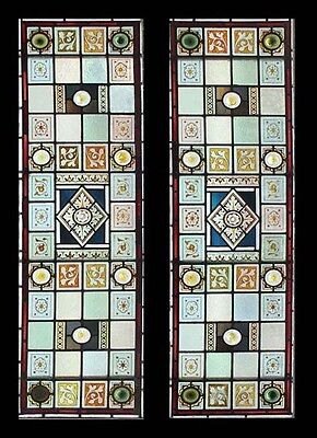 Rare Victorian Painted Pair Antique English Stained Glass Sidelights Stunning