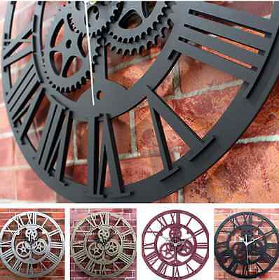 Large Round Metal Color Wall Clock Vintage Steampunk Skeleton Modern Home Decor