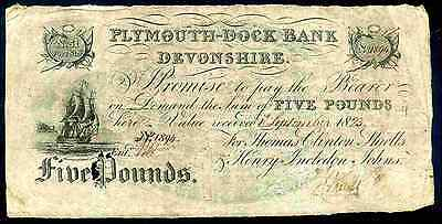 Plymouth Dock Bank. Five Pounds, 1st September 18(23), Nearly Fine.