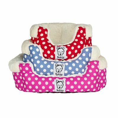 Bunty Deep Dream Polka Dot Soft Fur Fleece Dog Bed Washable Pet Basket Cushion