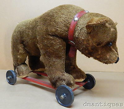 Antique Large Brown Bear on Wheels Steiff No Tag Mohair Straw Ride On Toy 1930's