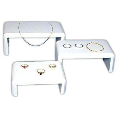3 Riser Leather White Show Case Display Units