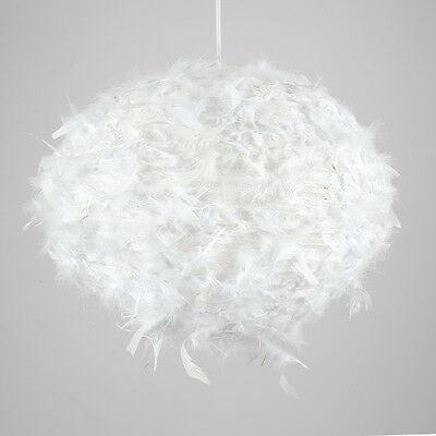 Modern Large Round White Feathered LED Pendant Ceiling Light Shade Feather Lamp