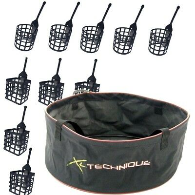 Groundbait Bowl Large and 10 Cage Feeders for Carp / Coarse Fishing Mixing Bowl
