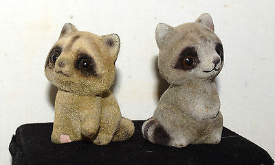 """Estate= Flocked  Set of Raccoon's  for Display on Shelf in Village  Old 2"""" tall"""
