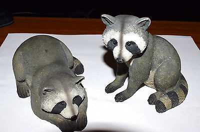 Estate Set of (2) Silly Raccoon Figurines for Inside or Out Hard Resin LOOK