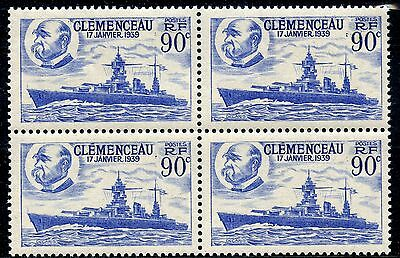 Stamp Timbre France Neuf N° 425 **  Bloc De 4 Cuirasse Clemenceau