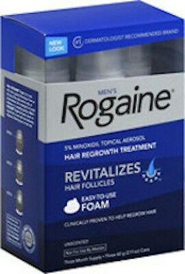 Rogaine Foam Hair Treatment For Men ~ 5% Minoxidil Topical Aerosol 3 Month