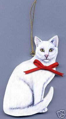 WHITE CAT Wooden ORNAMENT - Hand Crafted - Personalized w/NAME !