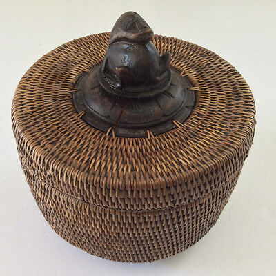 Antique Lombac Indonesia South East Asian Carved Wood Animal & Bamboo Basket