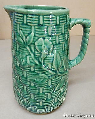 Vintage 1920's Art Pottery Stoneware Forest Green Pitcher Flowers on Basketweave