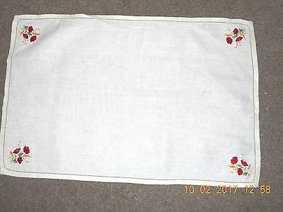Pretty vintage hand-stitched embroidered embroidery tray cloth linen poppies