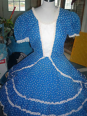 Square Dance Malco Modes Wedgewood Blue & White Daisies Dress Sz--Small