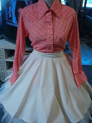 Women's Crocheted Peach Shawl-One Size--Free Peach Large Blouse-Skirt Included
