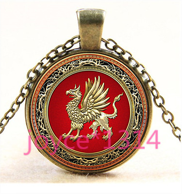 Celtic griffin Cabochon bronze Glass Chain Pendant Necklace TS-3886