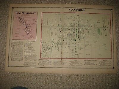 Antique 1874 Canfield New Middleton Mahoning County Ohio Handcolored Map Rare Nr